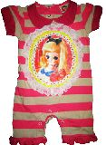 子供服 $※88A★ポーズ人形:フォトプリント ボーダー ロンパース :8090cm