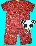 子供服 $A¥1600 半そで うさ&パンダ:風船 総柄 パジャマ ピンク 80から130cmまで