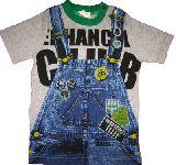 子供服 $ だまし絵:サロペット Tシャツ グレー 80から95cmまで