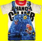 子供服 $ だまし絵:サロペット Tシャツ シロ 80から95cmまで