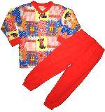 子供服 $A パッチワーク レトロアニマル キルト:長袖パジャマ アカ 80から150cmまで