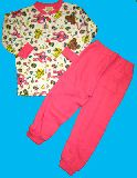 子供服 $A ★落書きうさちゃん:キャンディー キルト:長袖パジャマ ピンク×シロ 80から150cmまで