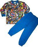 子供服 $A まるっこアニマル:総柄 キルト:長袖パジャマ アオ 80から150cmまで