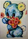 子供服 ※88モRAF※ ★ポスター★レトロなクマちゃん:花束 ¥500