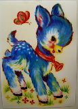 子供服 ※88モRA※ ★ポスター★レトロなバンビちゃんと・・・ちょうちょたち ¥500