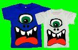 子供服 ★モ★巨大プリント:目玉 アイボール ホラーモンスター Tシャツ:レディース:メンズ