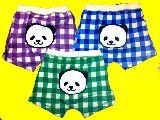 子供服 $▲◎ボクサータイプ 男の子用下着 :チェックパンダ カラー3色あるよ!
