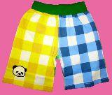 子供服 $A カラフルブロックチェック:パンダワッペン付き ハーフパンツ キイロ 110cm