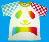 子供服 $A ★グラデーション:パンダ 袖チェック柄Tシャツ 120cm