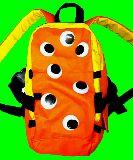 子供服 $※m※ 子供用リュック 目玉いっぱい オレンジ