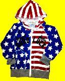 子供服 ?ワッフル生地★ 星条旗ジップアップパーカー「アカ×アオ」 100から140cm ¥1995