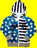 子供服 ▲$ワッフル生地★星条旗ジップアップパーカー 「ネイビー×グリーン」 100から140cm