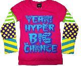 子供服 ▲$A88「ハイパービッグチャンス!」 カラフル袖:ロンT 110・120・・150cm