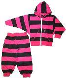 子供服 $※88A ★ボーダー ドルマン スウェット上下セット 「クロ×ピンク」 110・・130cm