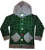子供服 $ チェック柄 カラフルボタン:パーカー グリーン 110から130cmまで