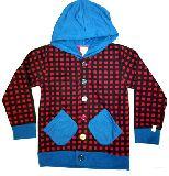子供服 $A チェック柄 カラフルボタン:パーカー アカ  110・120・130cm