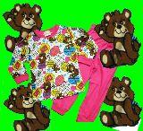子供服 $88A★クマちゃん:ポップ柄 長袖パジャマ 80・90・・100・120cm