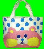 子供服 ◆※88ノRAF ★ドット:クマ♪★ マチ付き コットンバッグ ランチバッグに最適!