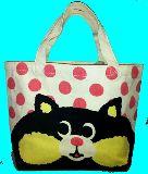 子供服 ◆※88NRAF ★ドット:ネコ♪★ マチ付き コットンバッグ ランチバッグに最適!