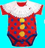 子供服 $※88NA ★¥1050 だまし絵:ピエロ 半袖ロンパース 70cm