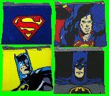 子供服 $※ク ◎スーパーマン:バットマン ★ハンカチ&ティッシュケース ポーチ
