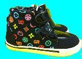 子供服 $●●RF99A ★ハイカット スニーカー モノグラム:パンダ 18cm