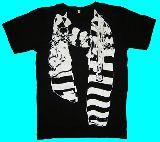 子供服 $※99A ●ボーダーパンクなだまし絵 Tシャツ:150cmからメンズサイズまで