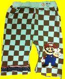 子供服 ピースマリオ ブロックチェック:ハーフパンツ ブルー 80から120cmまで