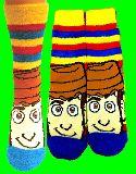 子供服 ◆$※RF ★ウッディ:アップ:ボーダー★トイストーリー もっこもこ くつ下 22〜24cm