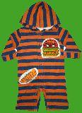子供服 $※88A ★スパイダーマンちっくなハンバーガー:フード付き ロンパース