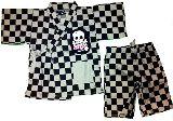 子供服 ●$※FR99A チェックドクロ:甚平 グレー 110・120cm