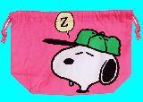 子供服 $※ARN99F マチ付巾着 ★スヌーピー・ピンク★ お弁当巾着