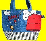 子供服 ※A99RF★デニムトートバッグ ★スヌーピー&ウッドストック★ ランチバッグに最適
