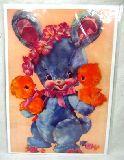 子供服 ※88mRA※ ★ポスター★ レトロなブルーウサちゃんと・・・ヒヨコたち ¥500