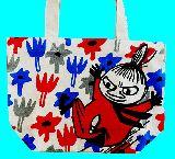子供服 ※99AF★ムーミン・リトルミイ お花畑★マチ付き コットンバッグ ランチバッグに最適