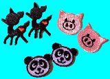 子供服 $※RFA88※★2コペア アイロンワッペン :バンビ:ブタ:パンダ