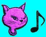 子供服 ◆◆◆★ロカビリー キャット・音符★アイロンワッペン