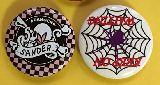 子供服 $$A88RF☆缶バッヂ★:ドクロ・ロック・スパイダー 蜘蛛の巣