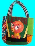 子供服 ◆◆◆A88M★トートバッグ★マグネット付き パッチワーク・オレンジバード
